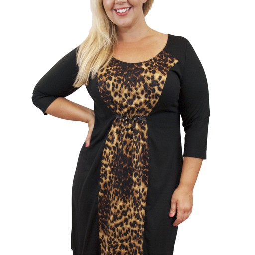 Lee Lee's Valise Katie Color Block Dress in Leopard