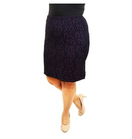 Lee Lee's Valise Paula Pencil Skirt in Black/Purple Lace