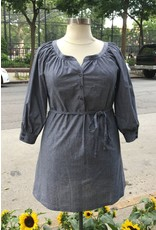 Lee Lee's Valise Julia Tunic Top in Black Chambray
