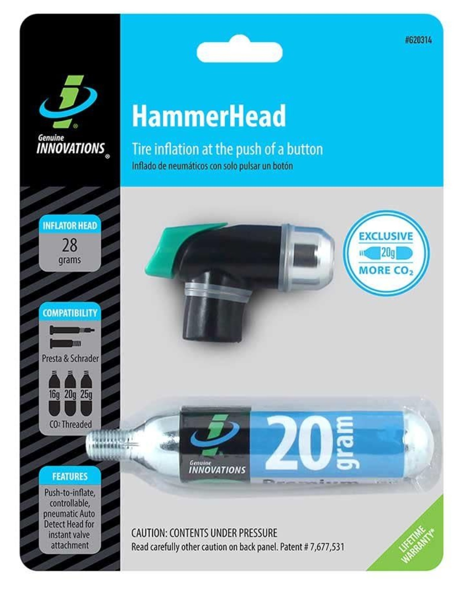 Genuine Innovations Genuine Innovations, Hammerhead, Co2 Inflator, 12g-25g and Big Air, Presta, Schrader, Black