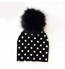 Tiny Trendsetter B+W Polka Dot Pom Pom Beanie Hat