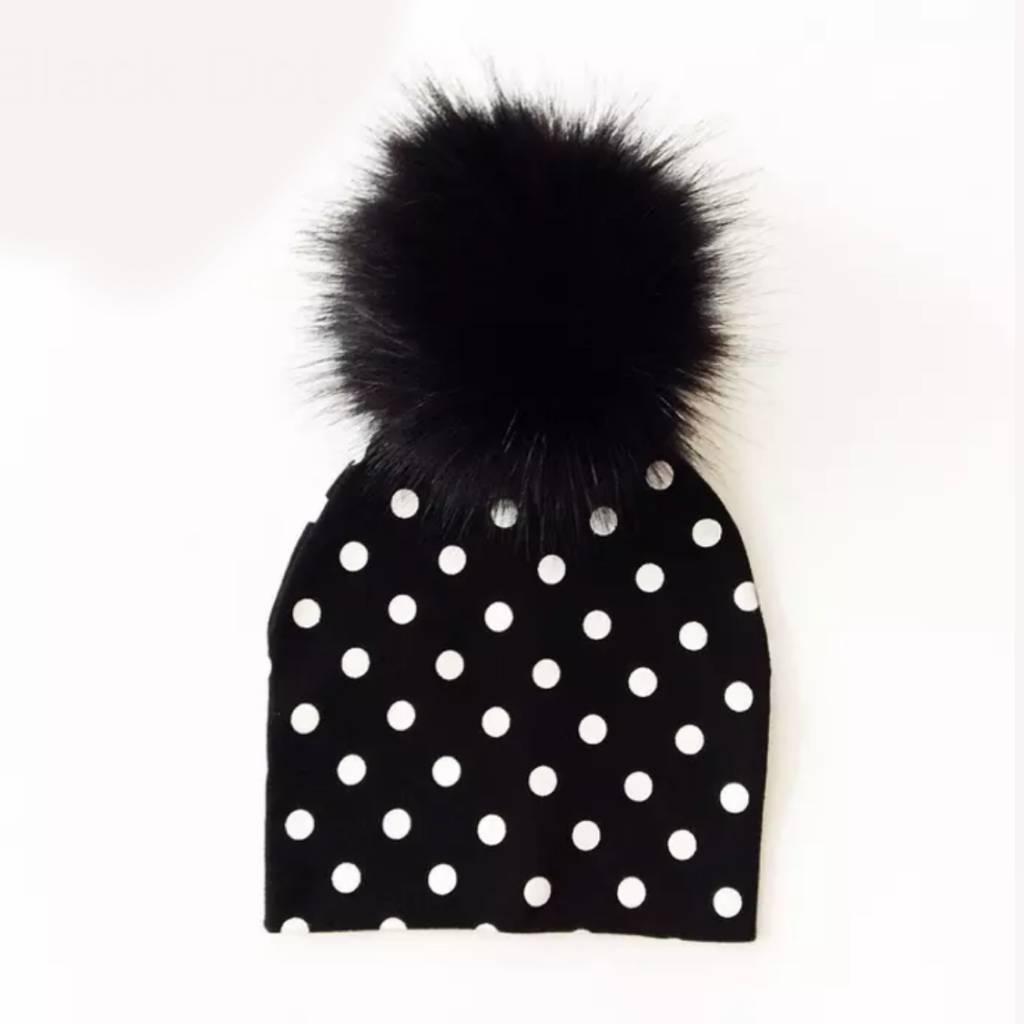 e55a4bb19 B+W Polka Dot Pom Pom Beanie Hat - HipBabyGear