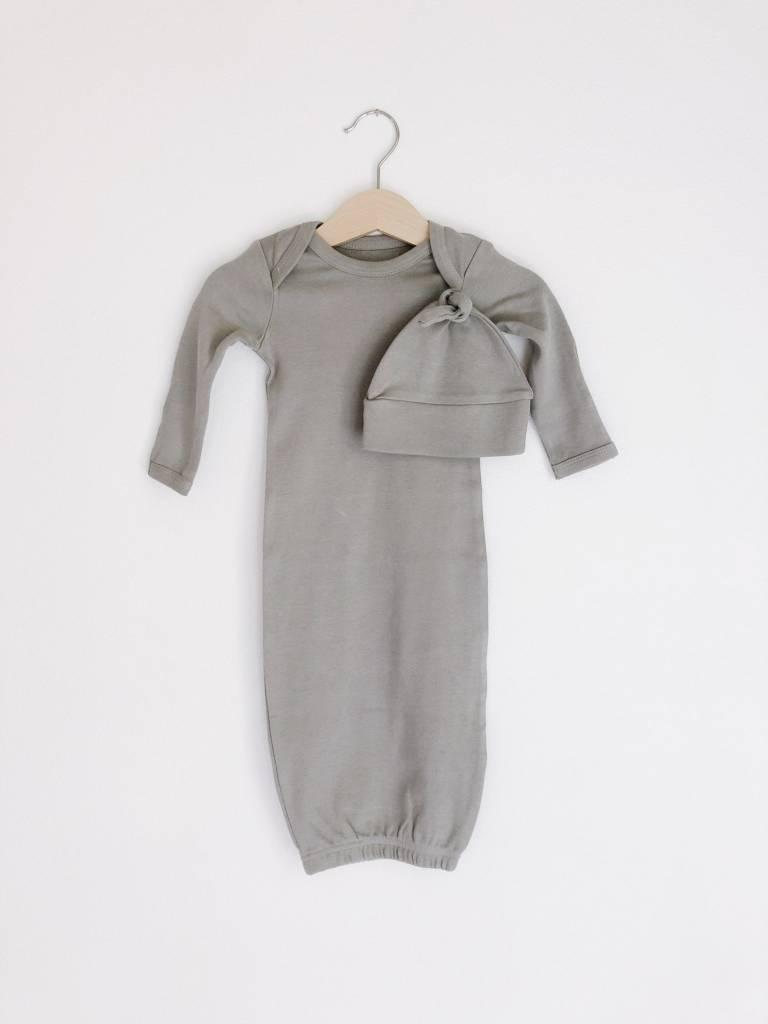 Modern Burlap Organic Knot Hat + Gown Set- Neutral Gray