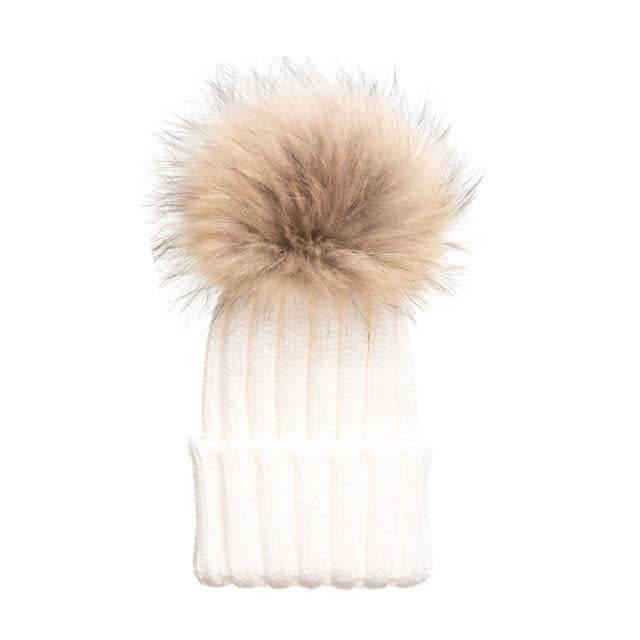 Tiny Trendsetter Tiny Ivory Pom Knit Hat