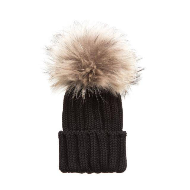 Tiny Trendsetter Tiny Black Pom Knit Hat