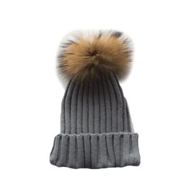 TIny Trendsetter Tiny Grey Pom Knit Hat (baby-kids)