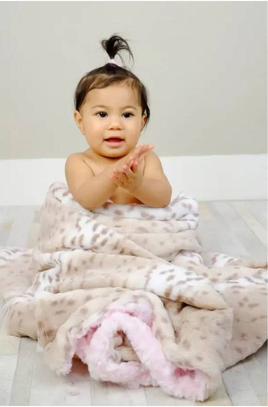 Tourance Baby Blanket- Snow Leopard with Pink Rosebud