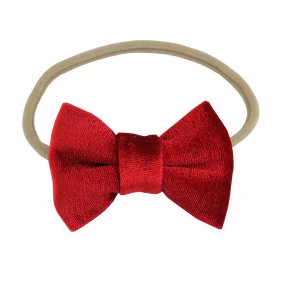 Tiny Trendsetter Tiny Red Velvet Bow Headband
