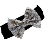 Tiny Trendsetter Tiny Silver Sequin Bow Headband