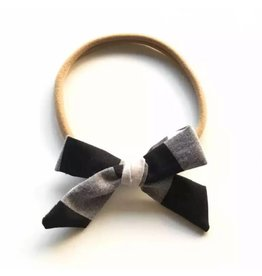 TIny Trendsetter Tiny Black Plaid Bow Headband