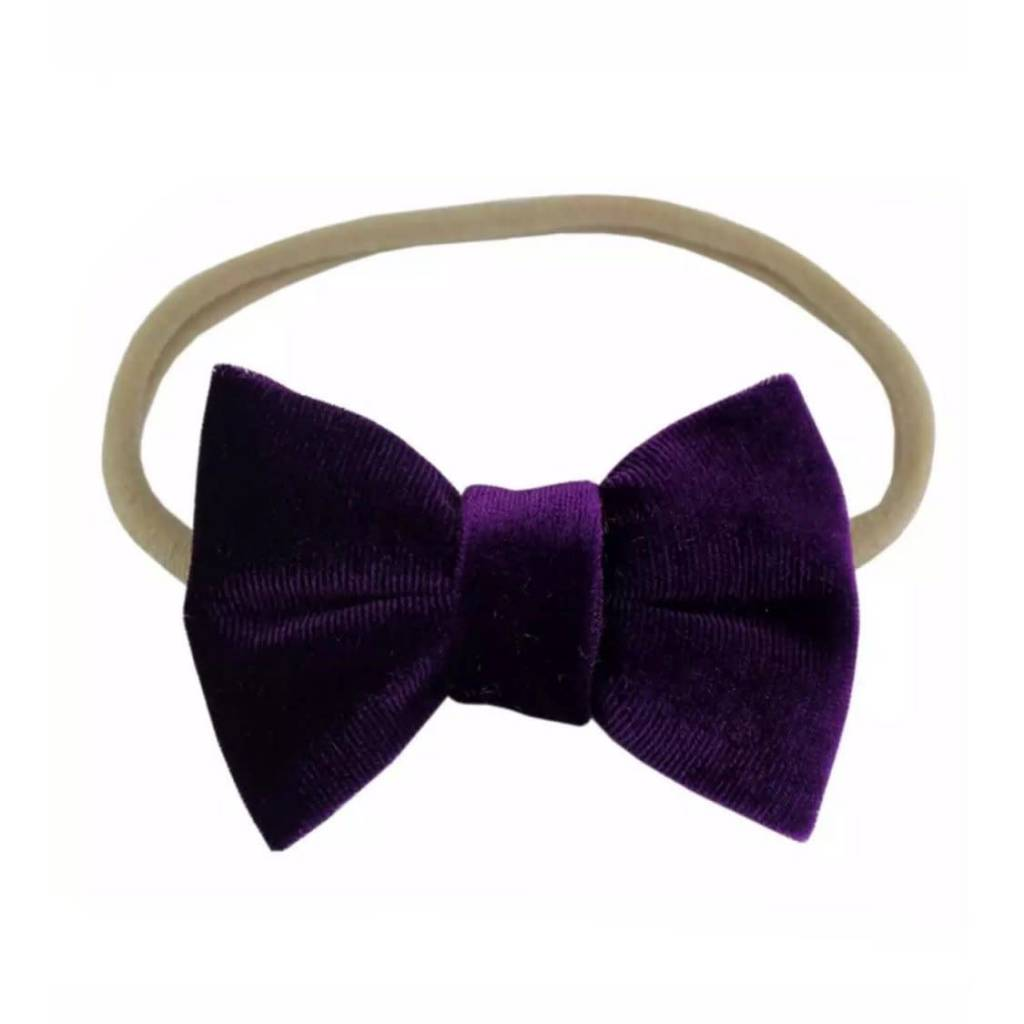Tiny Trendsetter Tiny Purple Velvet Bow Headband