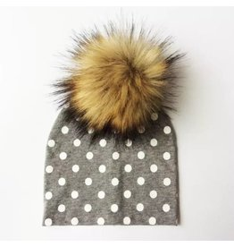TIny Trendsetter Tiny Grey with White Polka Dots Pom Pom Beanie Hat
