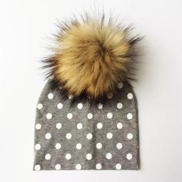 TIny Trendsetter Tiny Grey with White Polka Dots Pom Pom Beanie Hat
