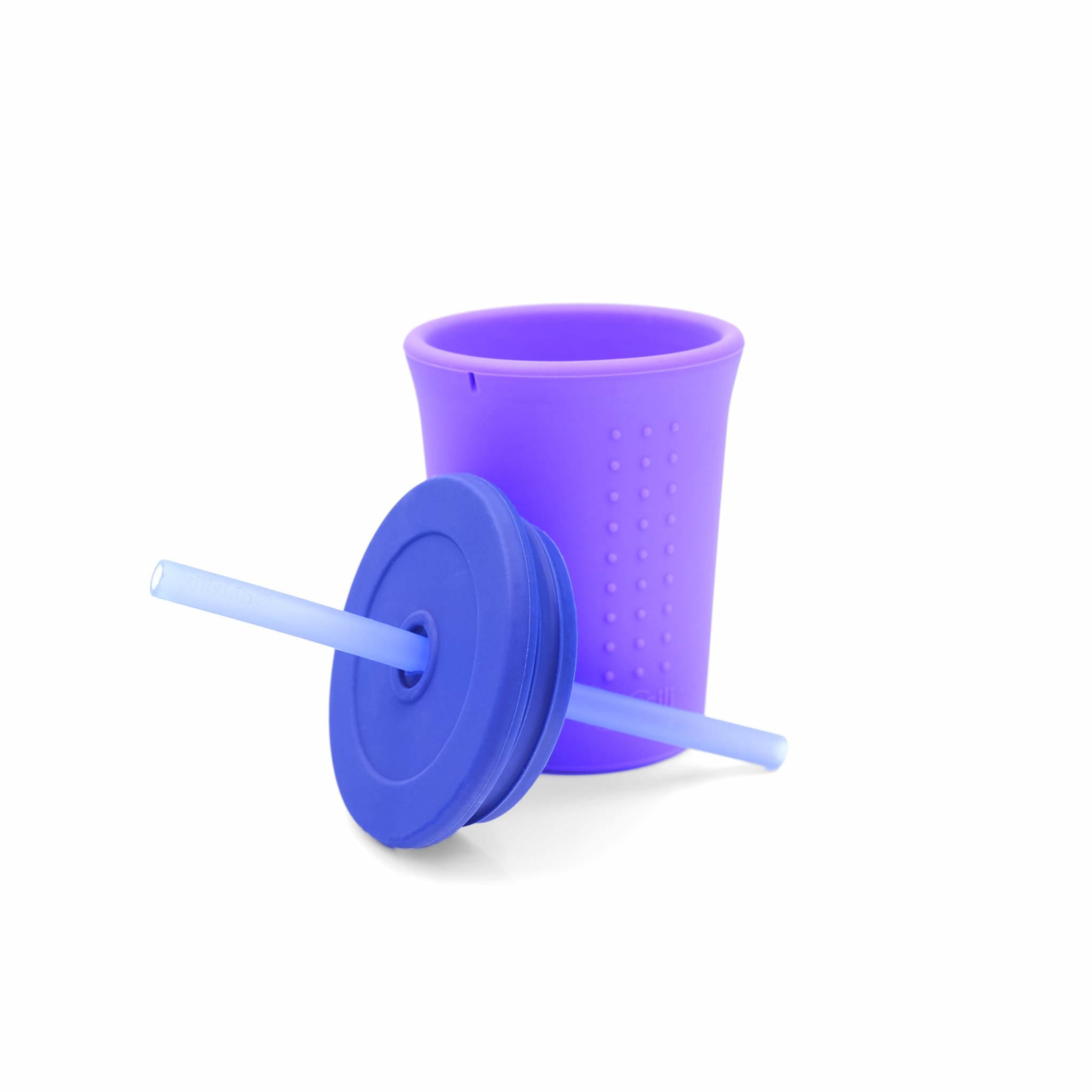 GoSili 12 oz Straw Cup- Purple/Navy