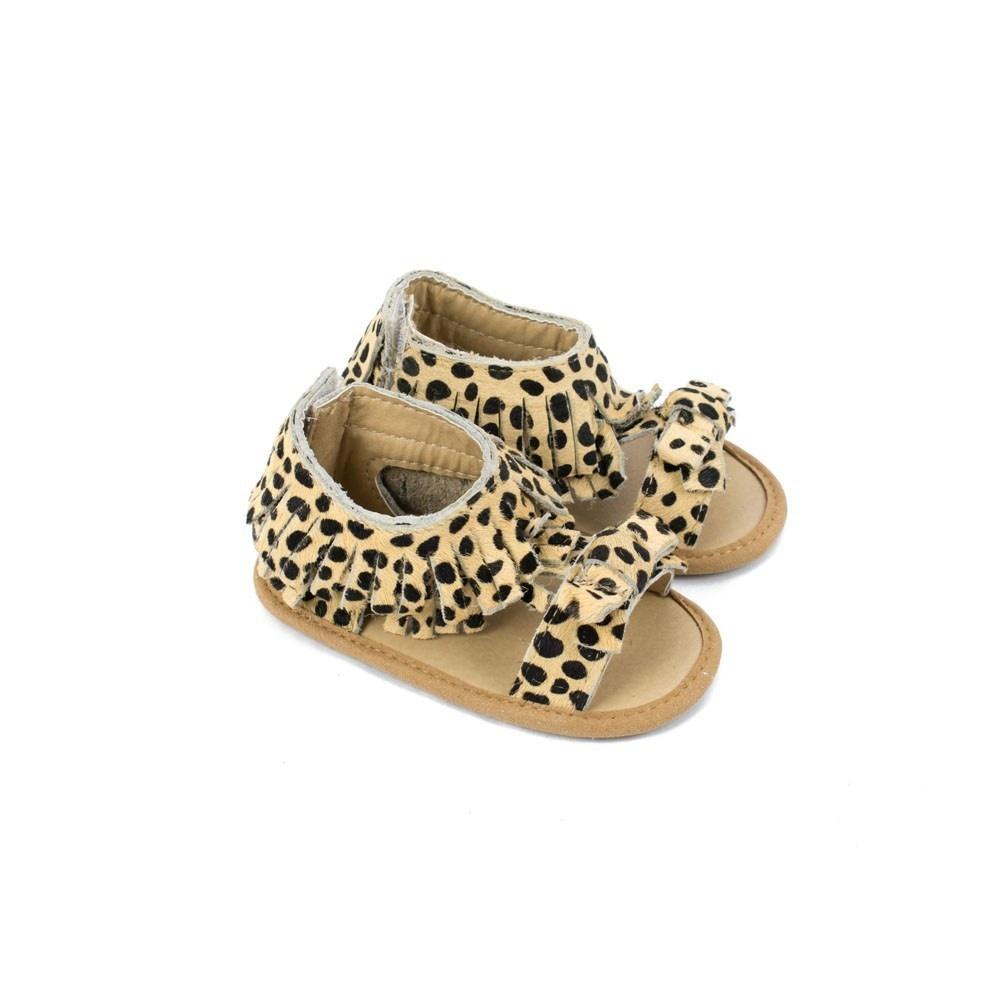 Sojo Moccs Sandals- Gigi, Leopard Print Suede