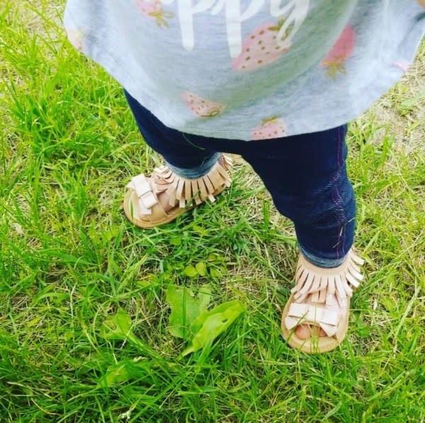 Sojo Moccs Sandals- Gigi, Light Pink Leather