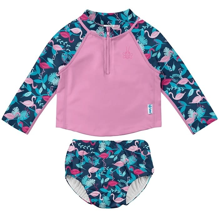 2 Piece Swimsuit- Navy Flamingos