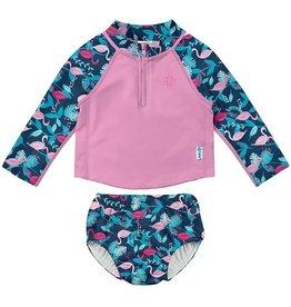 2 Piece Swimsuit- Navy Flamingos