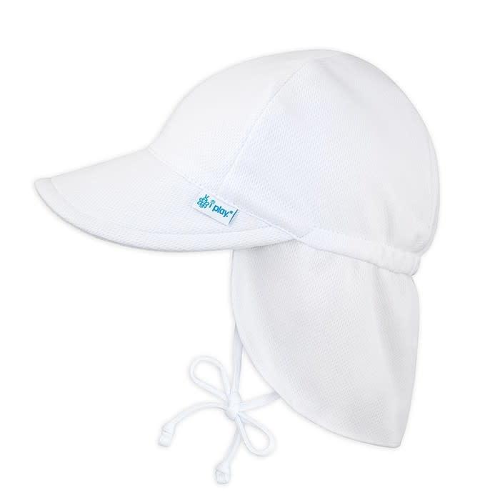 Breathable Sun Flap Hat- White
