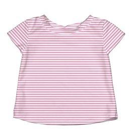 Cap Sleeve Rashguard- Light Pink Pinstripe