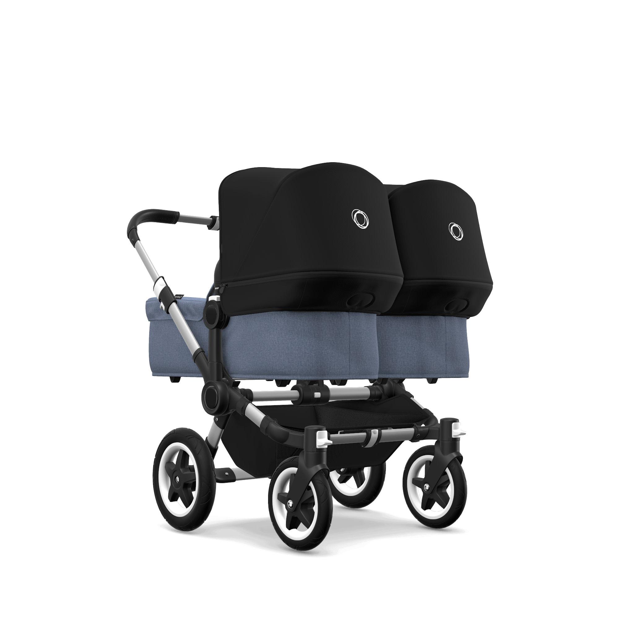 Bugaboo Donkey2 Twin Style Set- Aluminum, Blue Melange