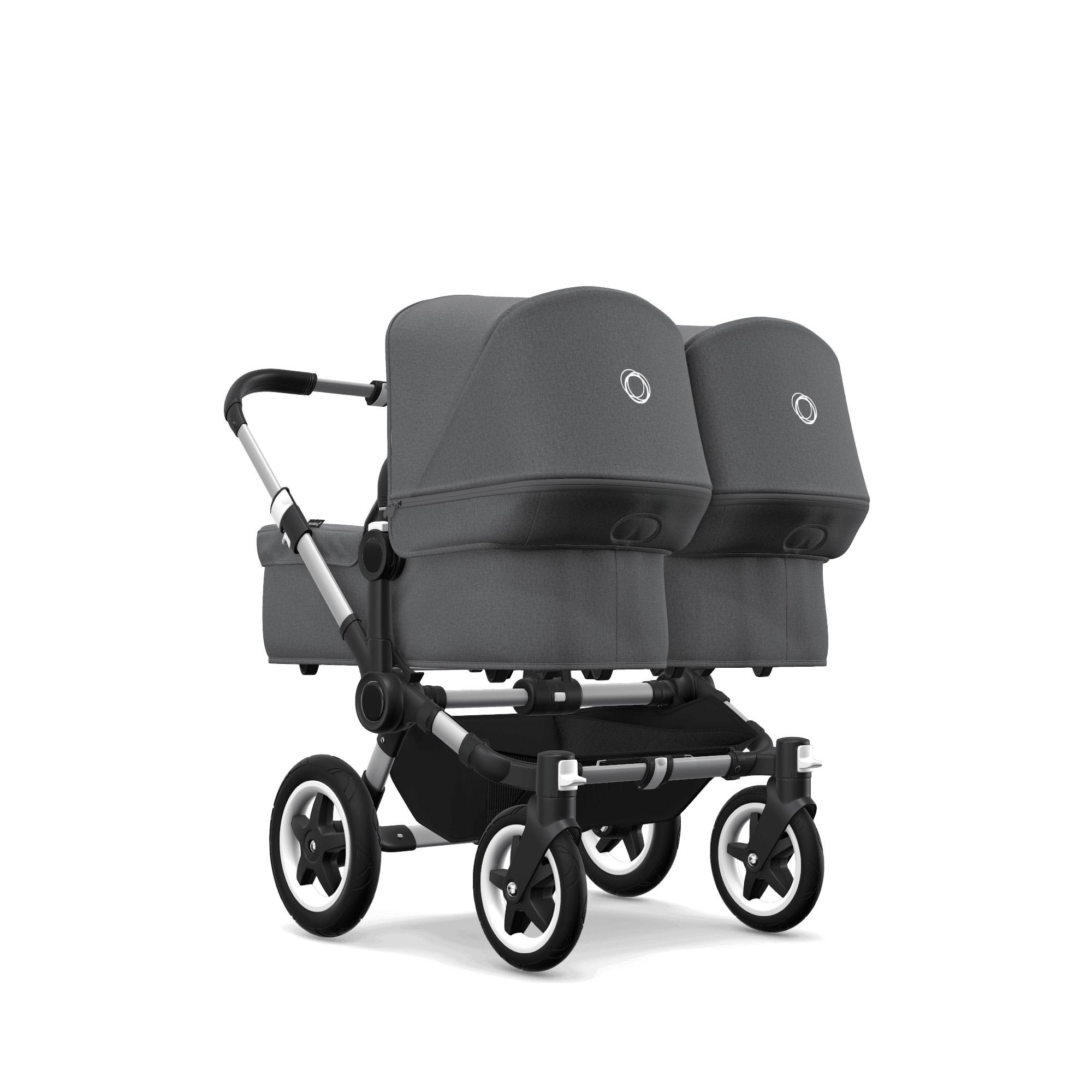Bugaboo Donkey2 Twin Style Set- Aluminum, Grey Melange