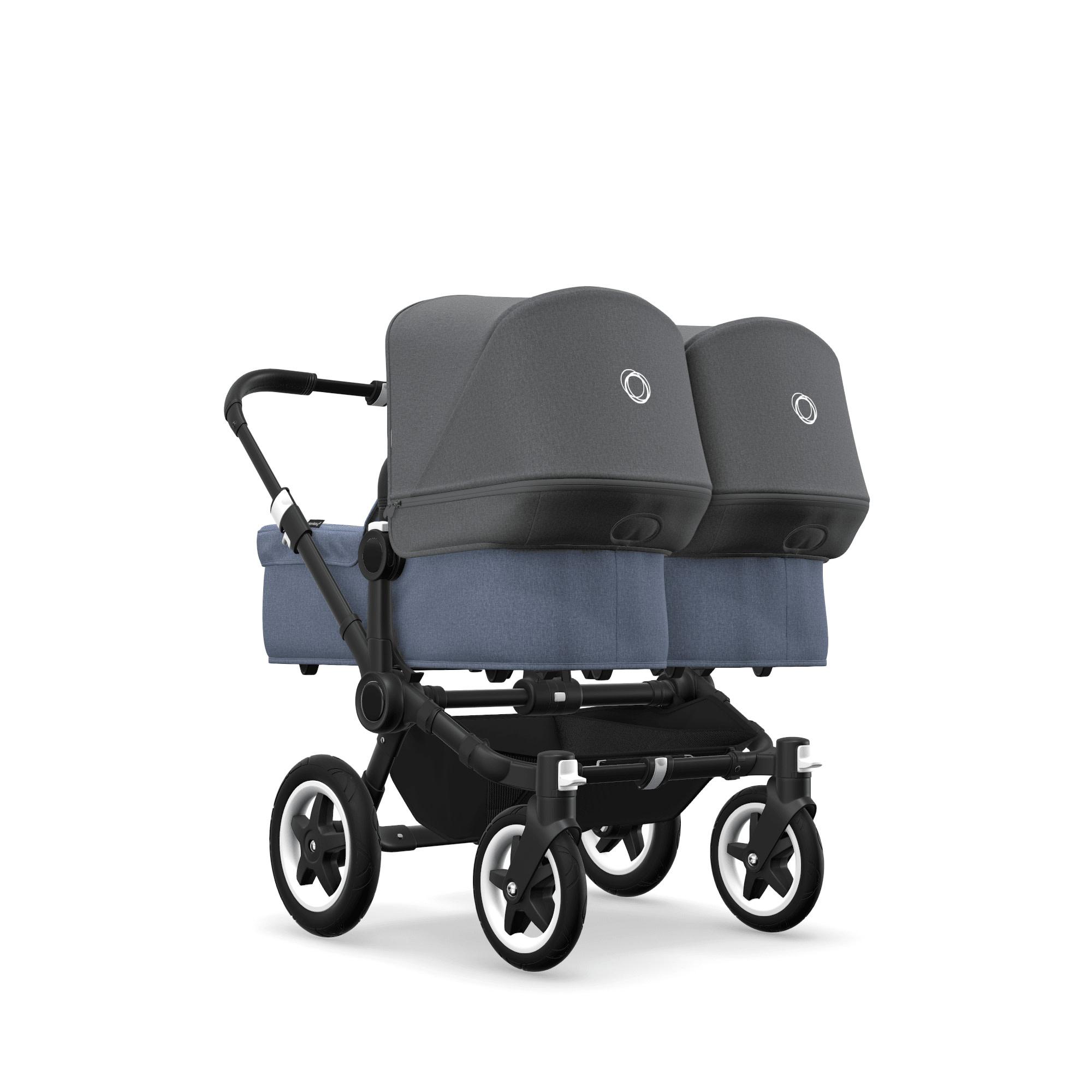 Bugaboo Donkey2 Twin Style Set- Black, Blue Melange