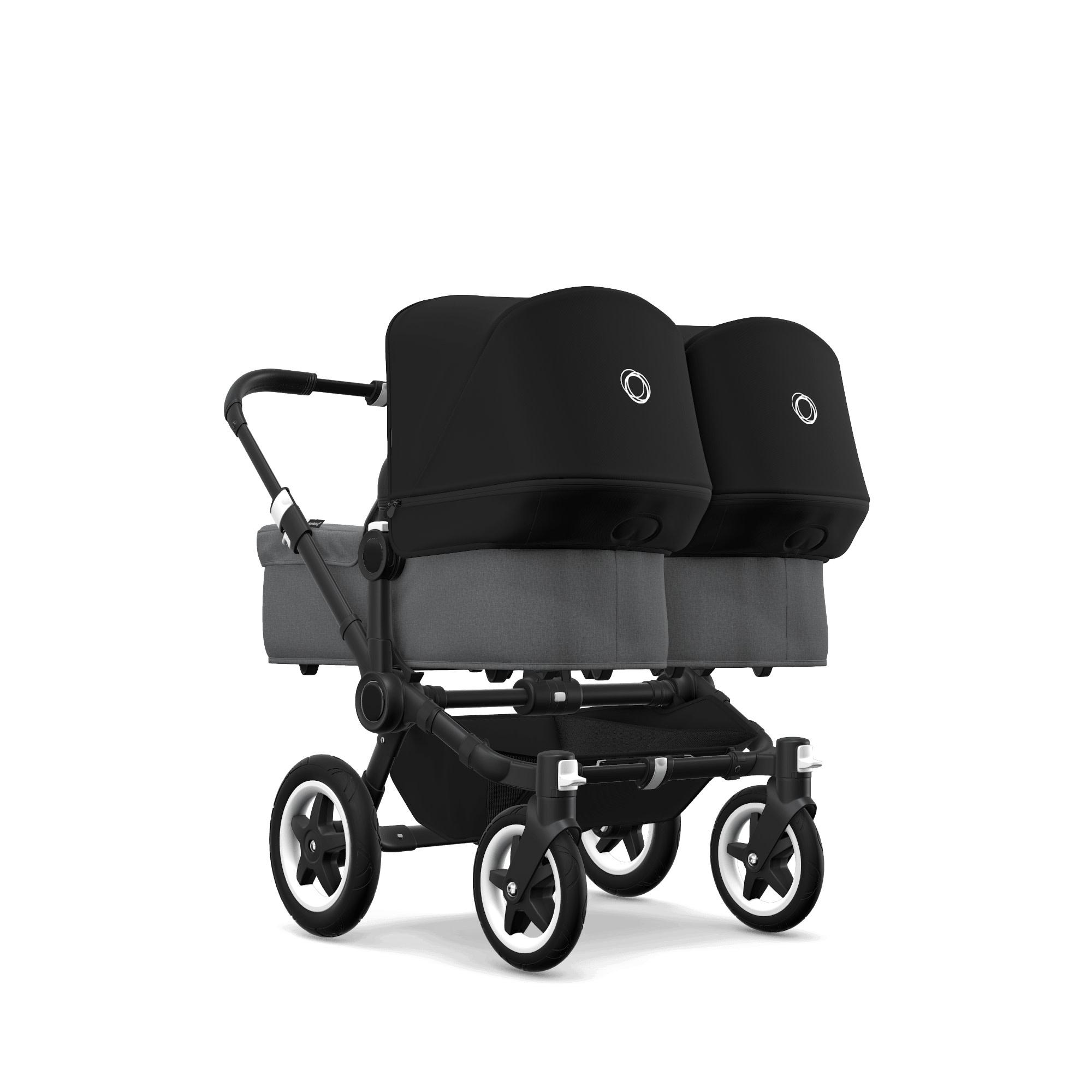 Bugaboo Donkey2 Twin Style Set- Black, Grey Melange