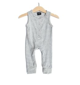 Little Bipsy Sleeveless Stripe Romper- Grey