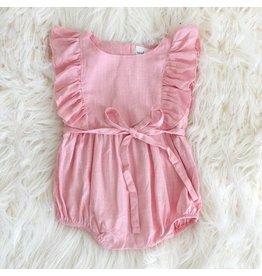 Carken Design Light Pink Linen Ruffle Romper