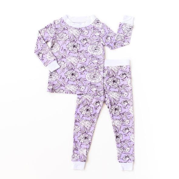 Little Sleepies Two Piece Bamboo Pajama- Peonies