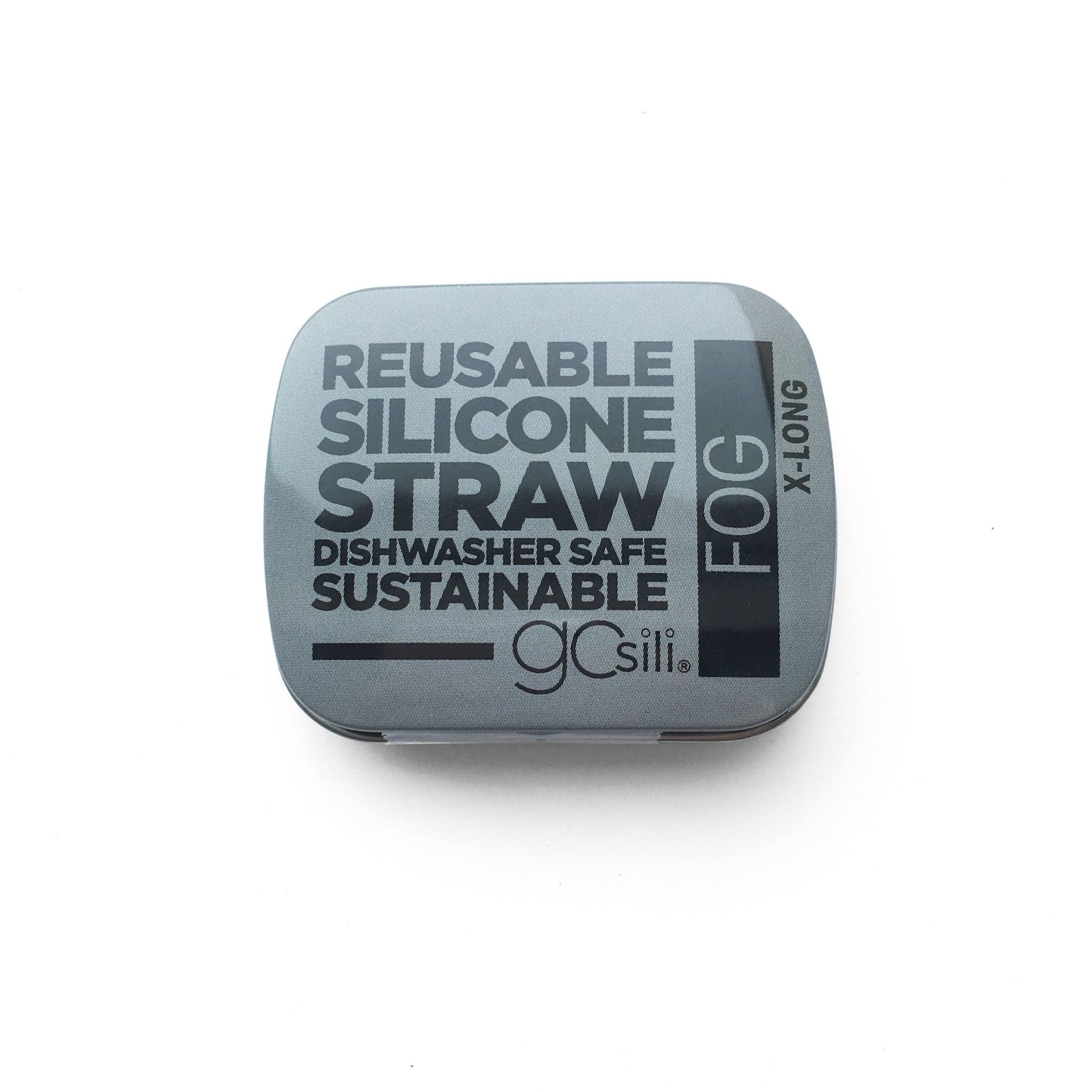 GoSili X-Long Silicone Straw and Tin- Fog