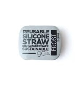 GoSili X-Long Silicone Straw and Tin- Frost