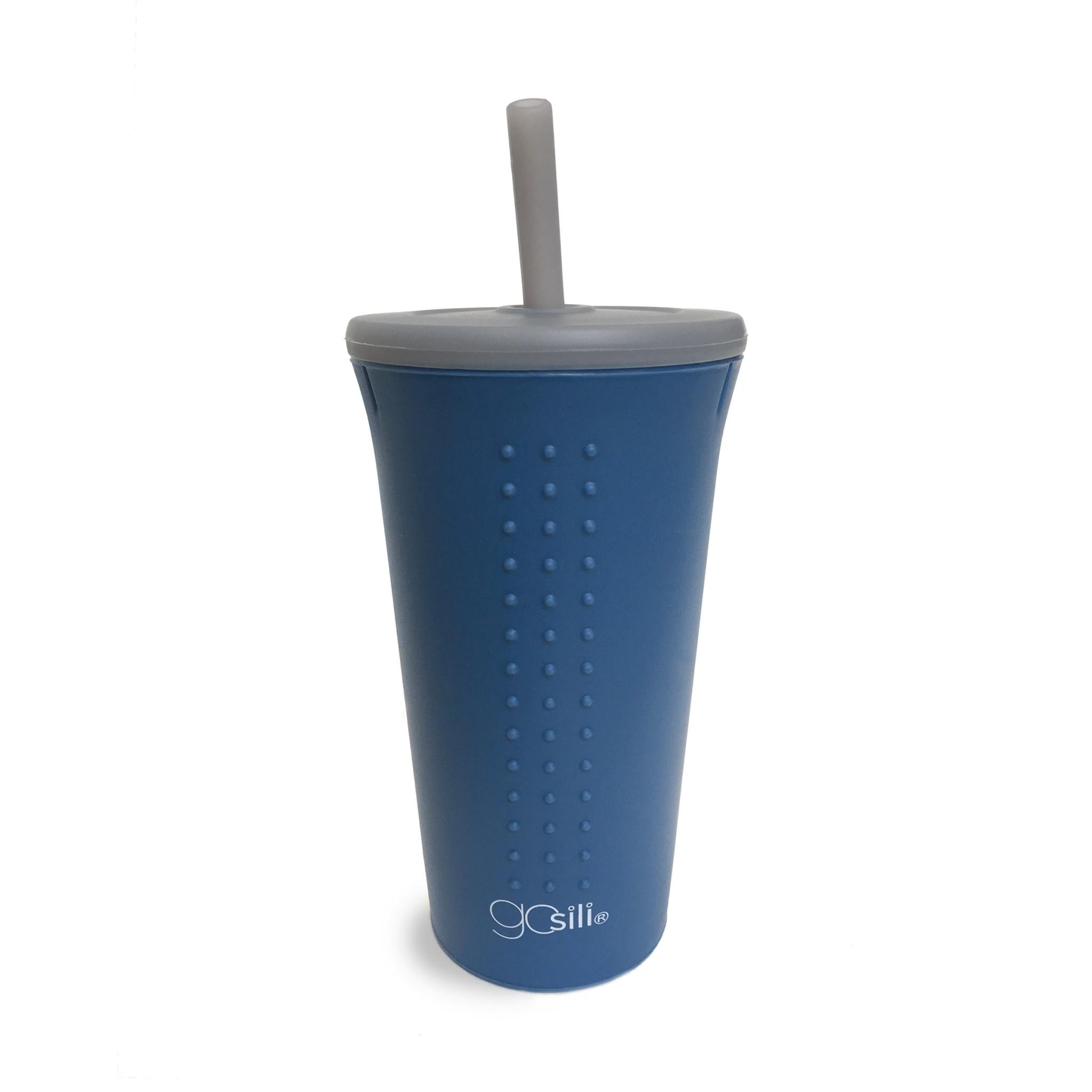 GoSili 16 oz Straw Cup- Foggy Blue/Grey