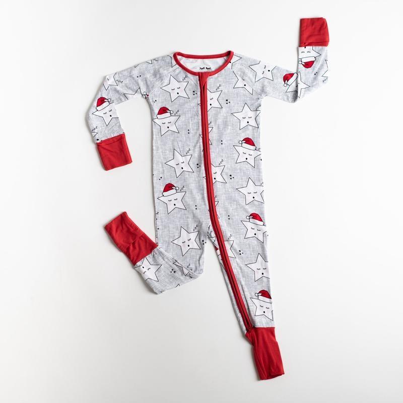 Little Sleepies Zip Romper- Sleepy Santa Stars