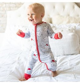 Little Sleepies Zip Romper- Sleepy Santa Stars