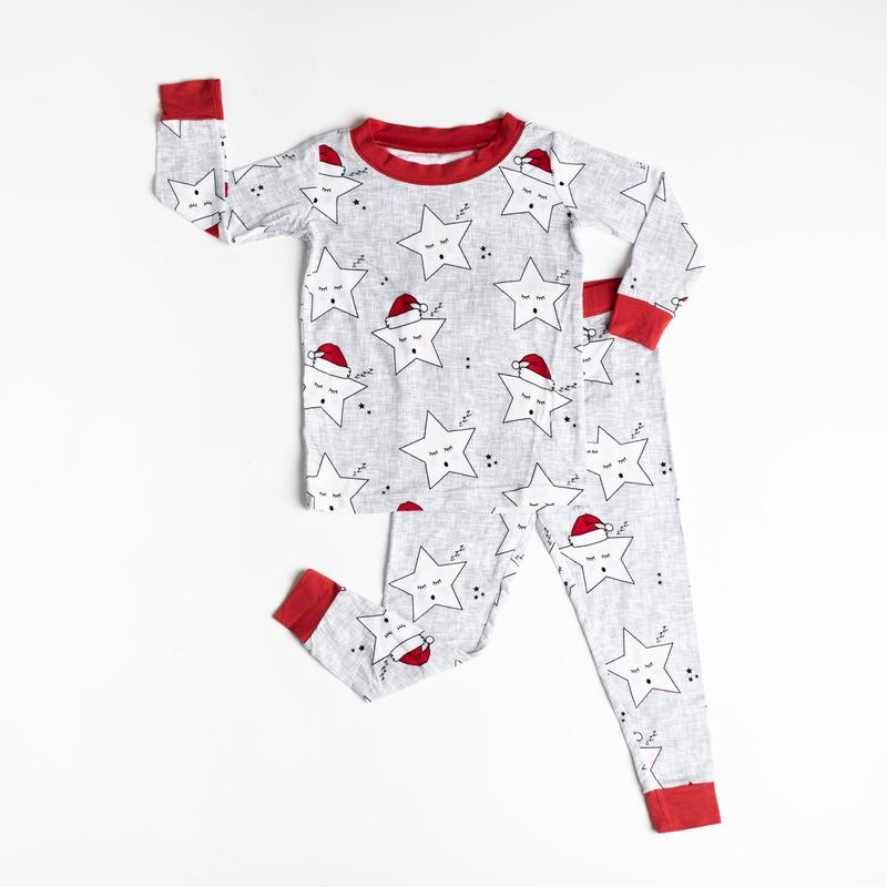 Little Sleepies Two Piece Bamboo Pajama- Sleepy Santa Stars