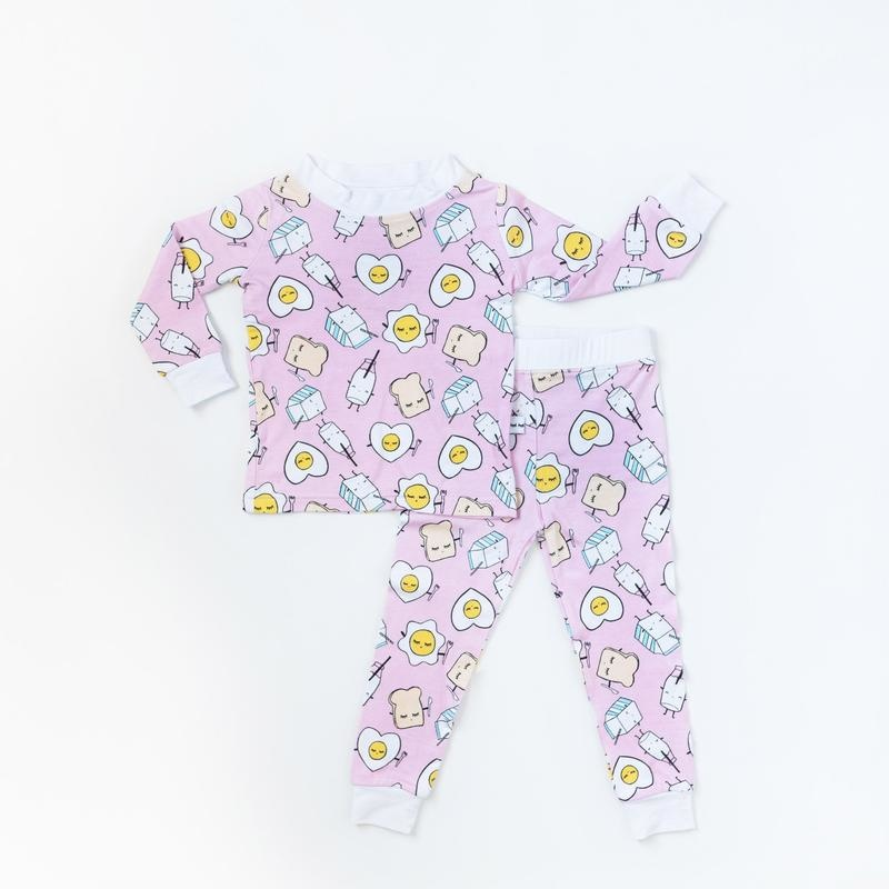 Little Sleepies Two Piece Bamboo Pajama- Pink Breakfast