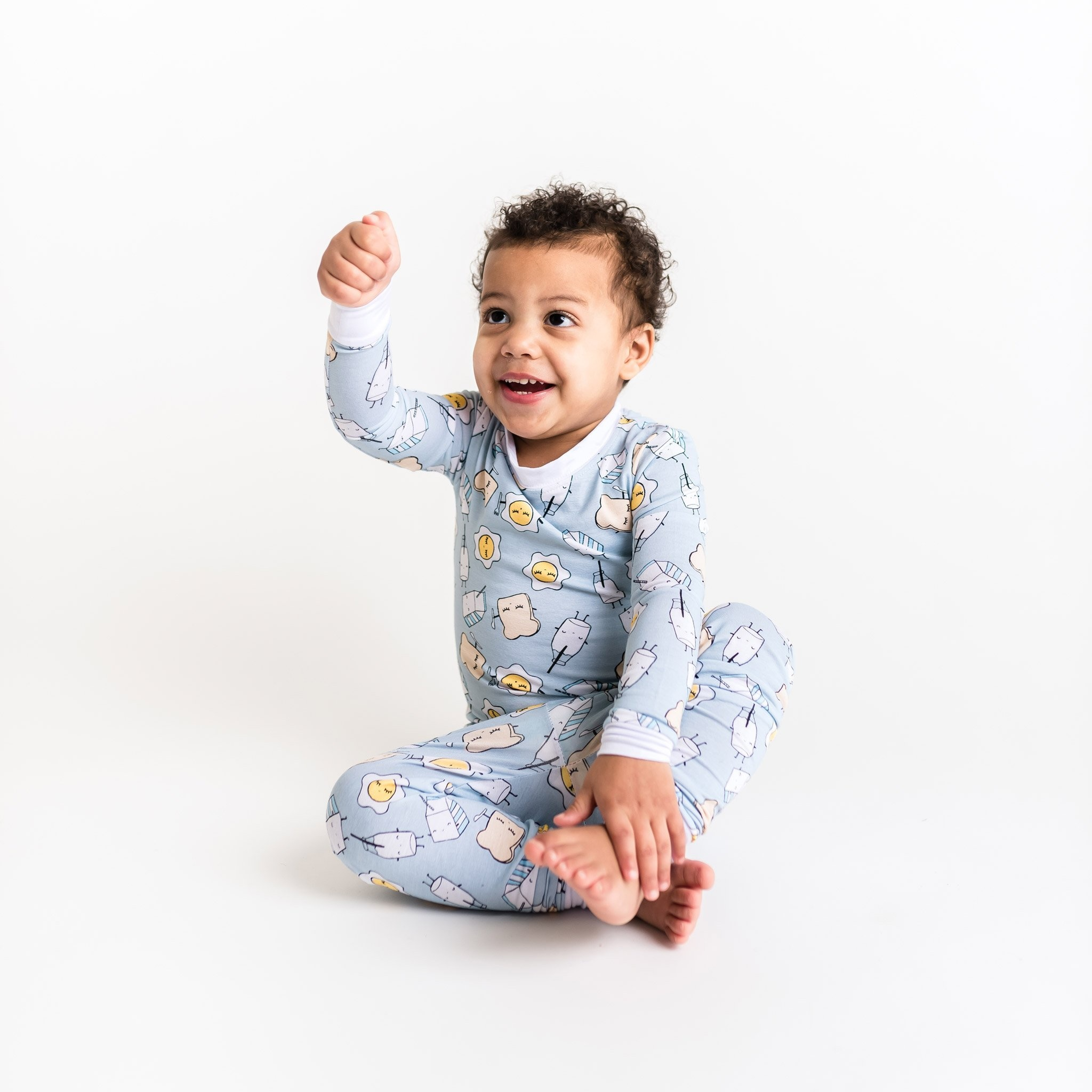 Little Sleepies Two Piece Bamboo Pajama - Blue Breakfast