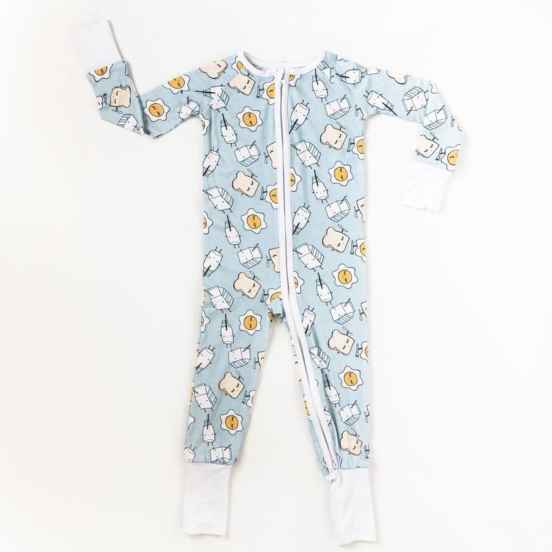 Little Sleepies Zip Romper- Blue Breakfast