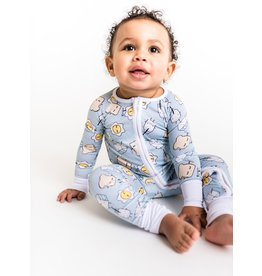 Little Sleepies Zip Romper- Blue Breakfast