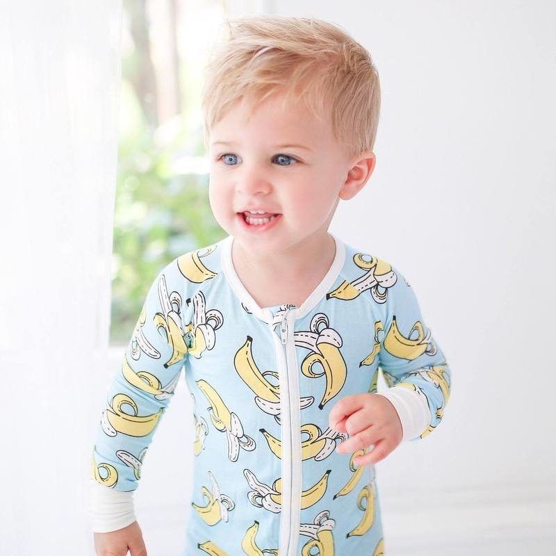 Little Sleepies Zip Romper- Bananas