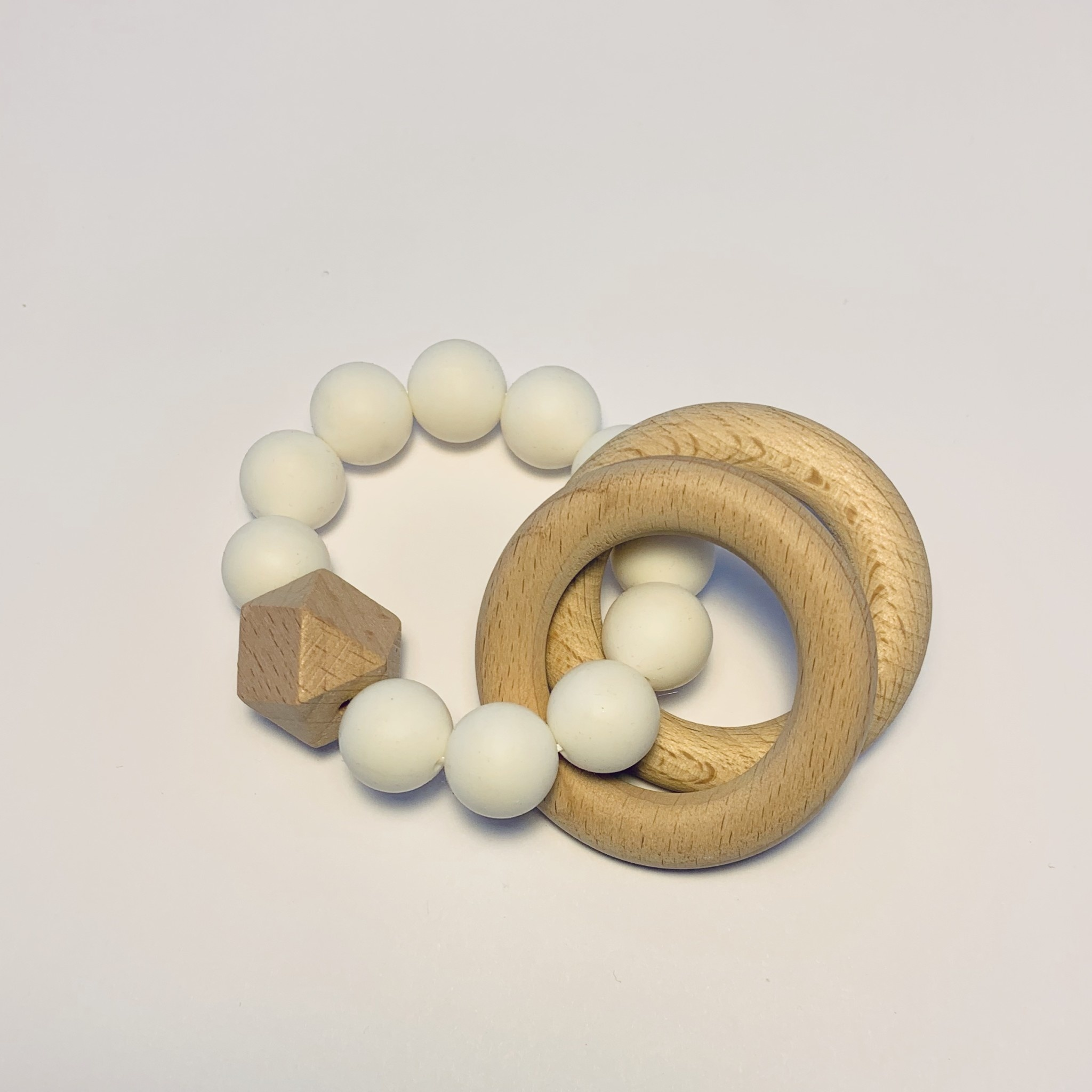 Sugar + Maple Silicone + Beechwood Teether 2 Ring