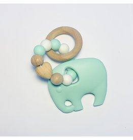 Sugar + Maple Silicone + Beechwood Teether- Elephant