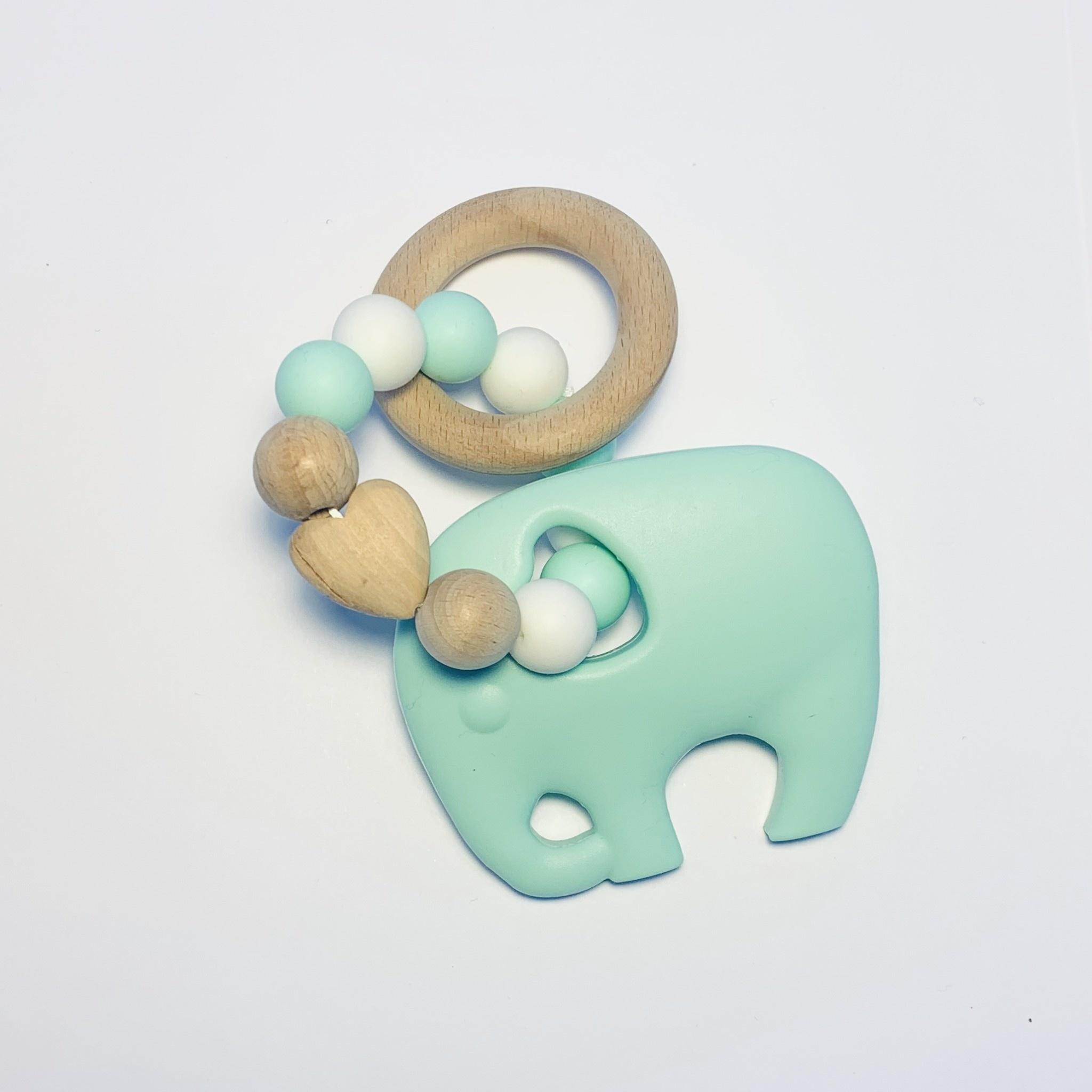 Sugar + Maple Silicone + Beechwood Teether- Elephant