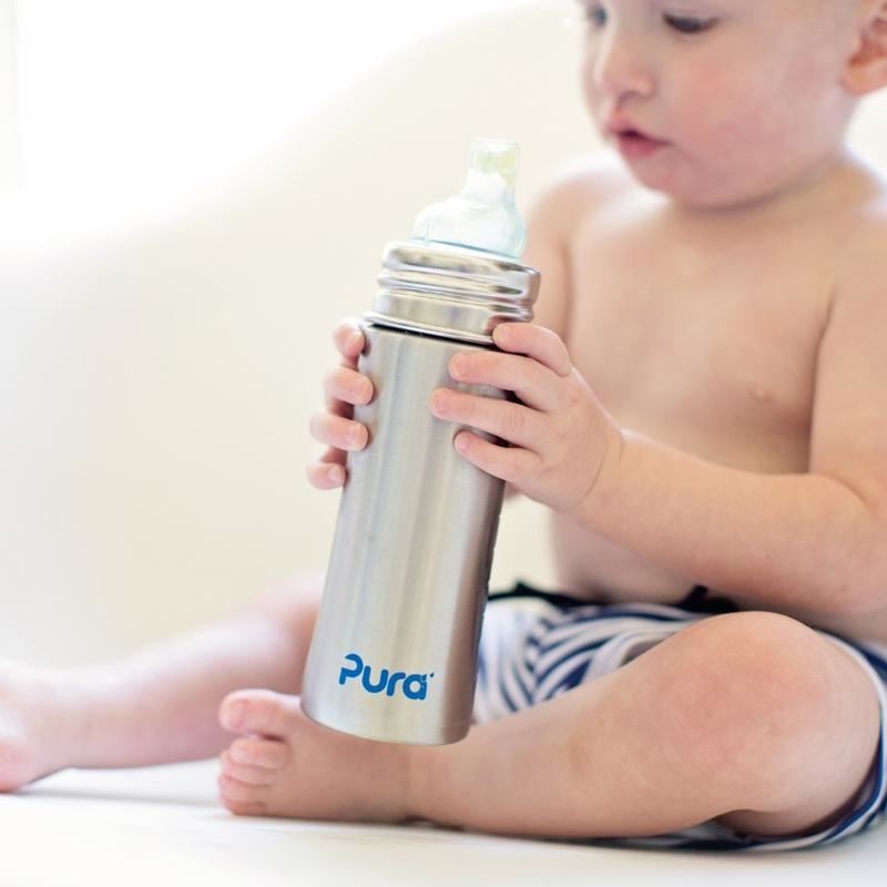 Pura Stainless 11oz Sippy Bottle- Slate