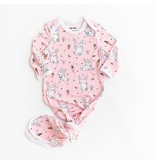 Little Sleepies Infant Knotted Gown- Pink Bunnies