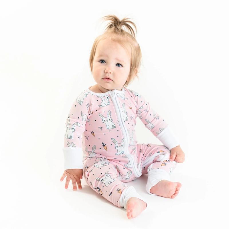 Little Sleepies Zip Romper-Pink Bunnies
