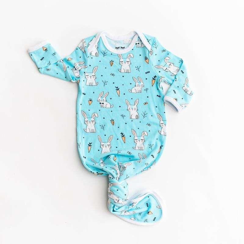 Little Sleepies Infant Knotted Gown-Aqua Bunnies