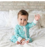 Little Sleepies Zip Romper - Aqua Bunnies